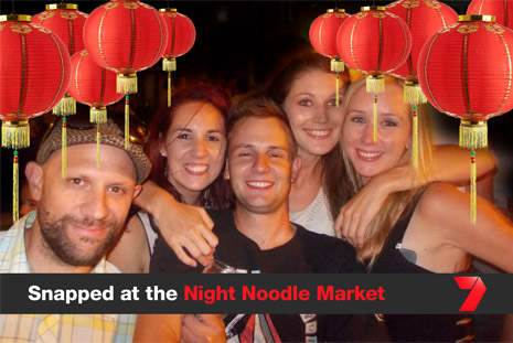Group of happy people snapped at the Night Noodle Market